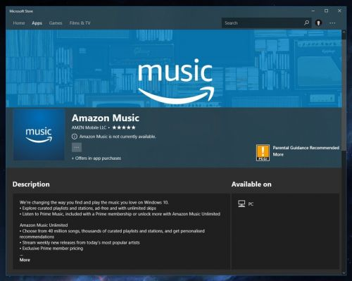 Amazon Music shows up in the Microsoft Store on Windows 10