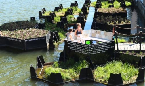 Brilliant activists turned river trash into a floating park, and it's awesome