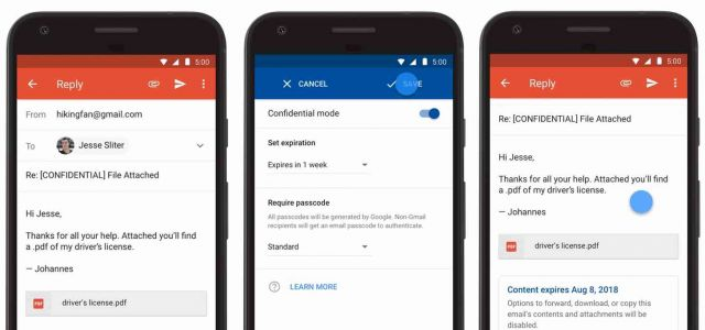 Gmail apps for Android and iOS gain confidential mode