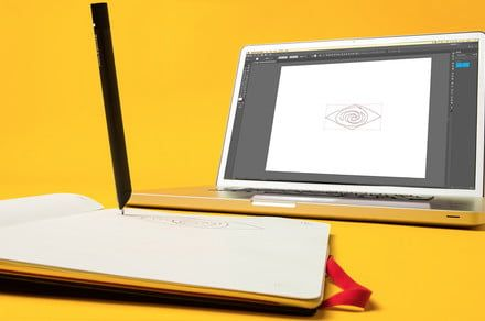 Paper designs digitize in real time using an Illustrator-connected paper tablet