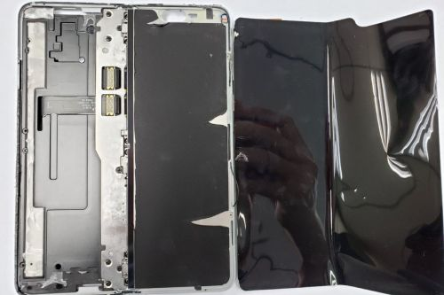 The inside of the Samsung Galaxy Fold is marvelously messy
