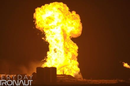 SpaceX's Starhopper rocket bursts into flames during tests