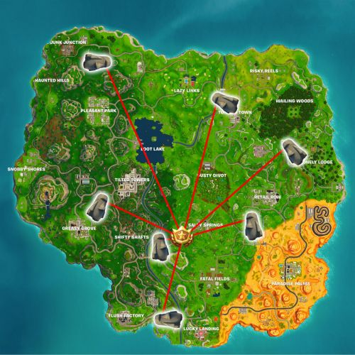Fortnite: Search Where Stone Heads Are Looking Location