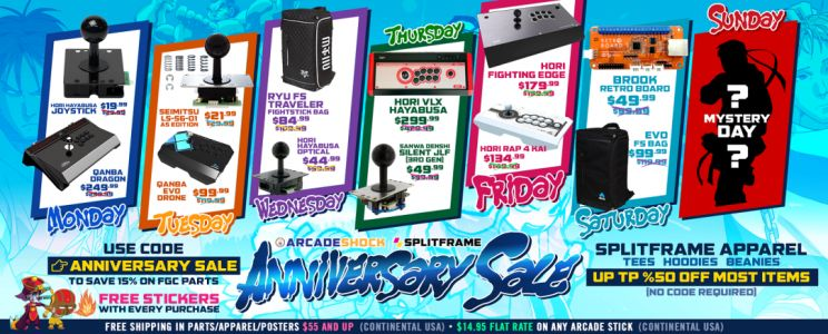 Arcade Shock announces its Anniversary Sale, kicking off on October 15th with daily deals on controllers, parts, & apparel