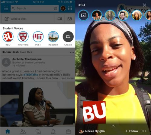 "LinkedIn launches its own Snapchat Stories: ""Student Voices"""